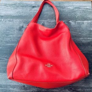 Red Coach Shoulder Bag with Three Compartments
